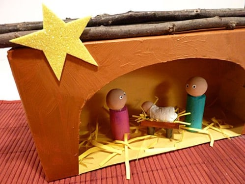 Recycled Tissue Box Nativity Scene