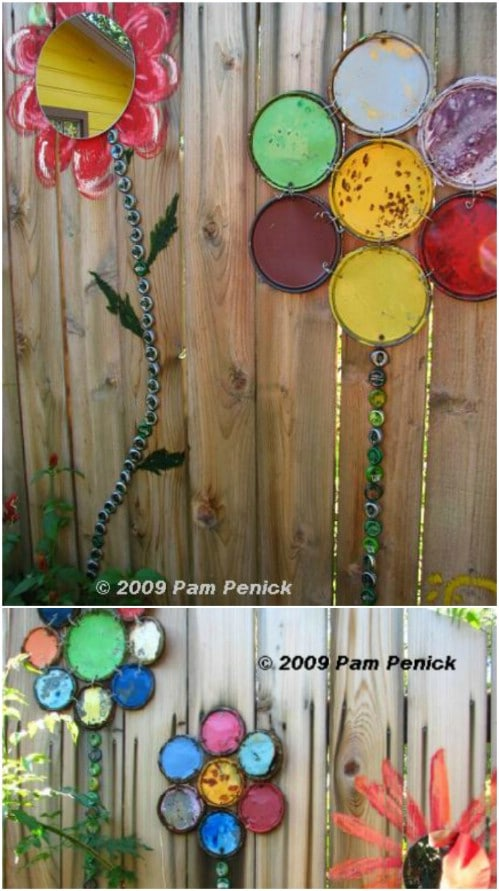 Upcycled Paint Lid Flowers