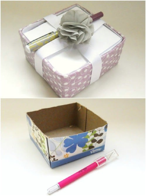 Upcycled Tissue Box Notepad Holder