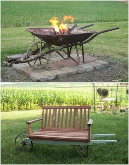 DIY Repurposed Wheelbarrow Fire Pit