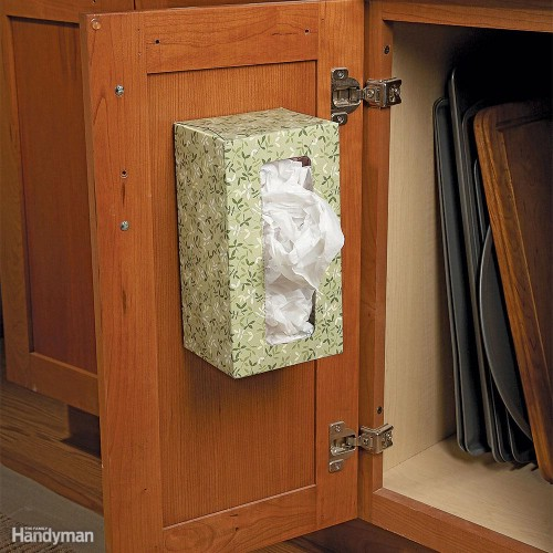 Upcycled Tissue Box Plastic Bag Storage