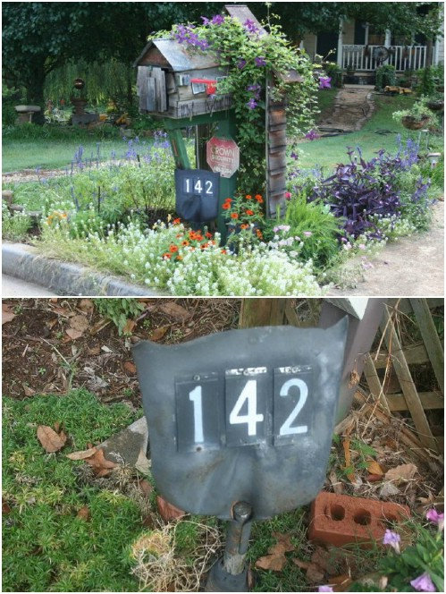 Upcycled Shovel Head Address Marker