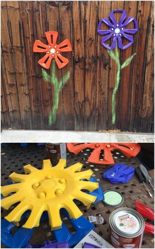 Upcycled Hub Cap Fence Flowers