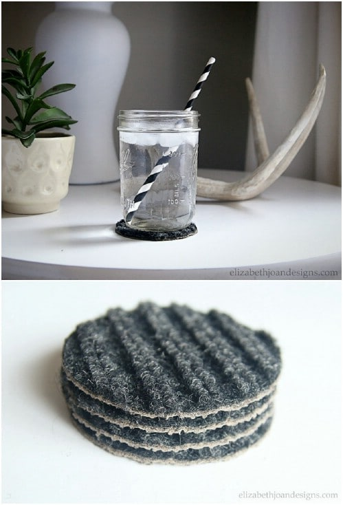 Upcycled Carpet Drink Coasters