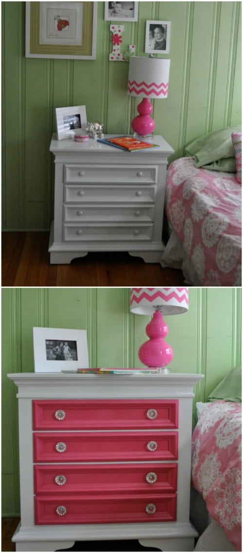 Just paint the drawers in a chest of drawers for a splash of vibrant color.