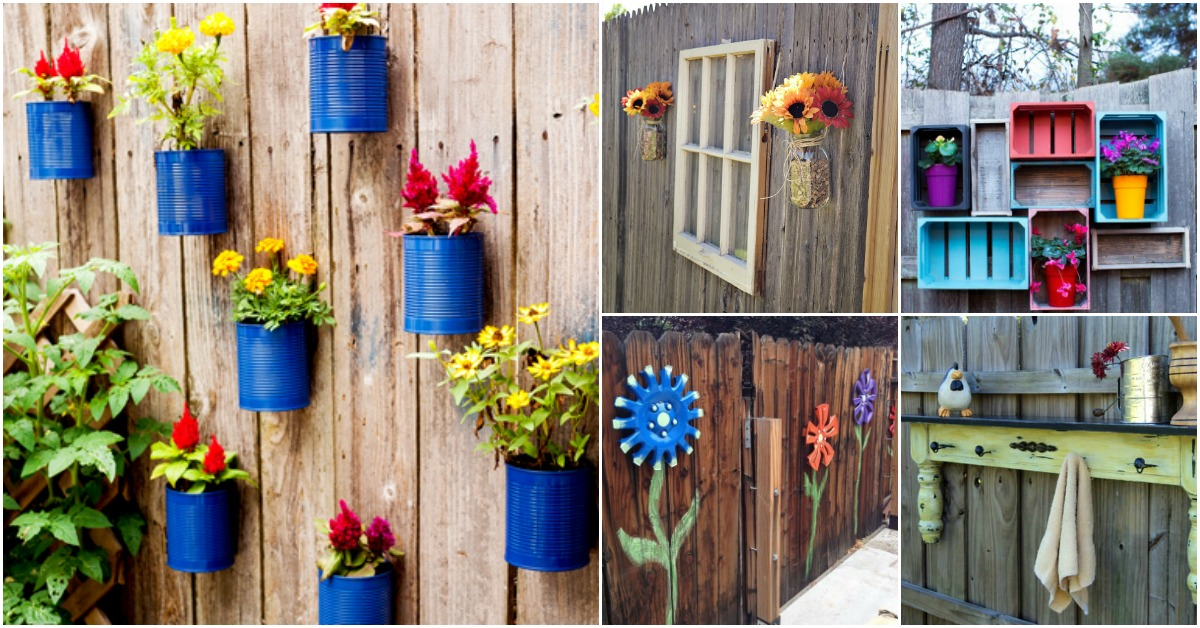 30 Eye-Popping Fence Decorating Ideas That Will Instantly ... on Backyard Wooden Fence Decorating Ideas id=28066