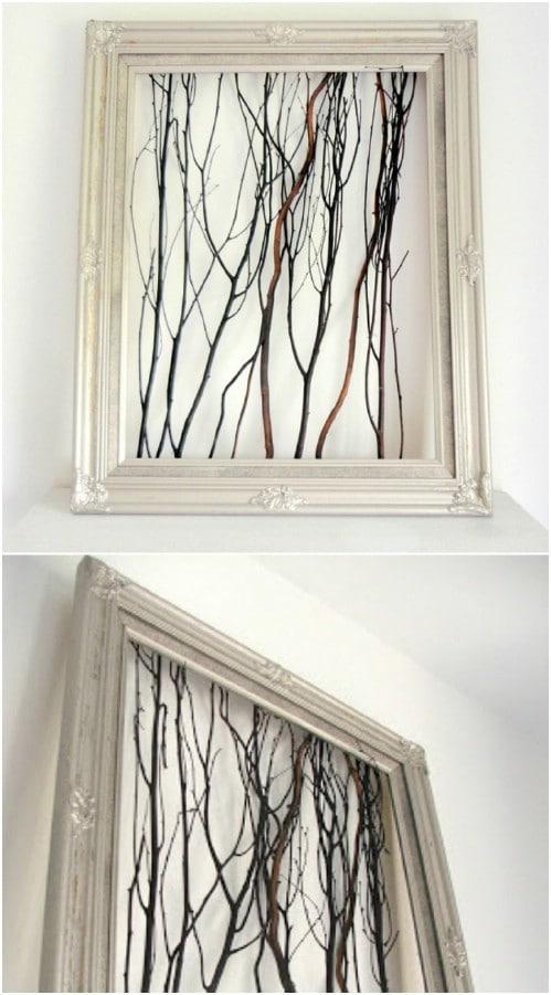 Rustic Looking Framed Twig Art