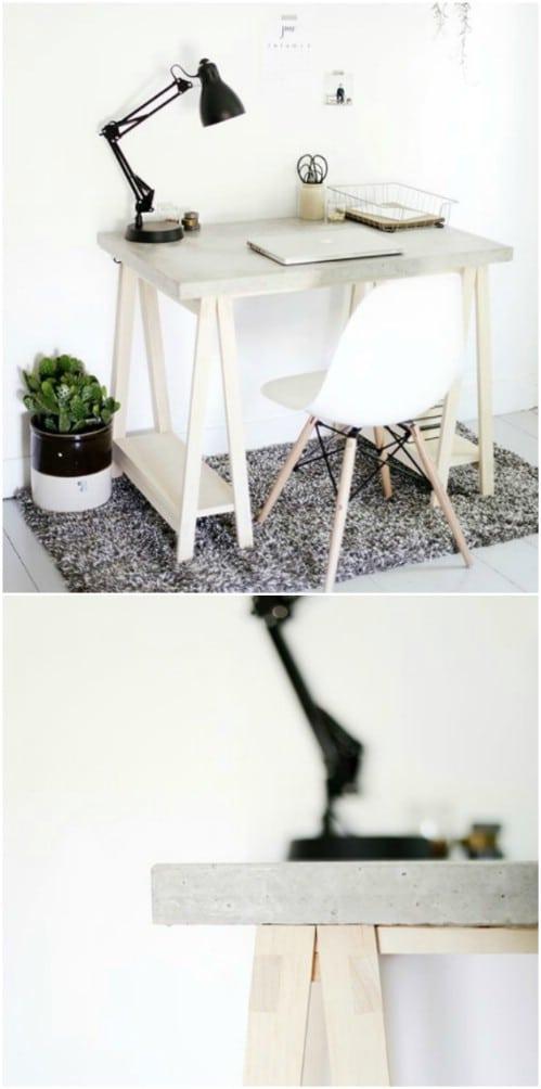 Industrial Style Desk With Concrete Desktop