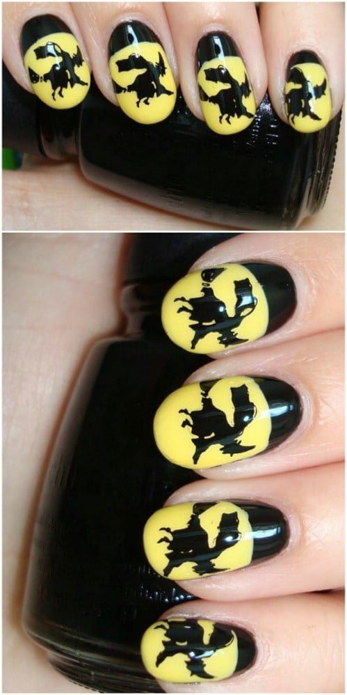 Cute Flying Witch Nail Art