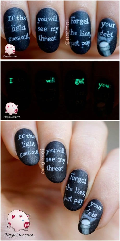 40 frightening and fun halloween nail art designs you can do diy creepy glow in the dark message nails prinsesfo Images
