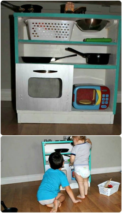 Repurposed Bookshelf Play Kitchen