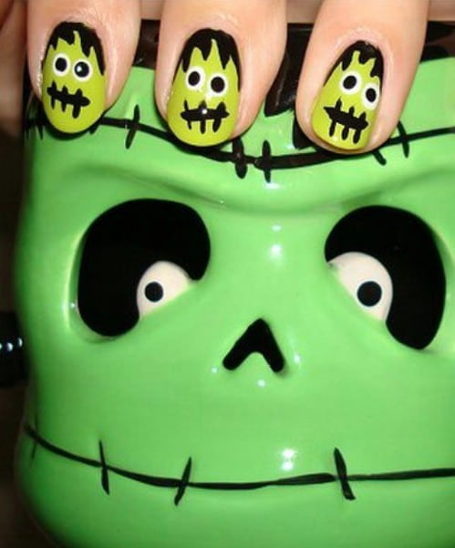 DIY Whimsical Frankenstein Nails