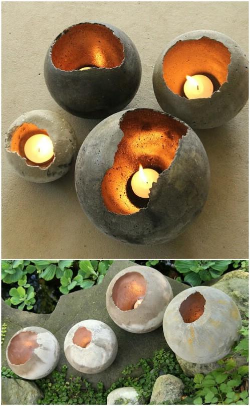 Hand Blown Concrete Garden Bowls