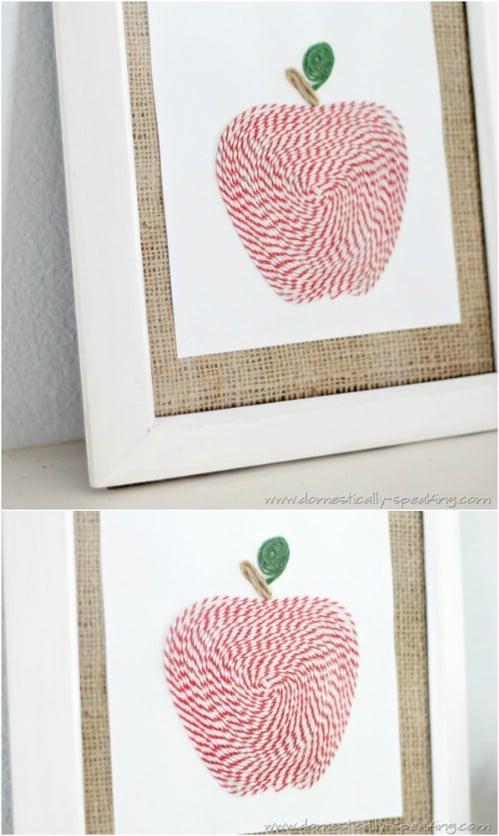 DIY Twine Apple Art