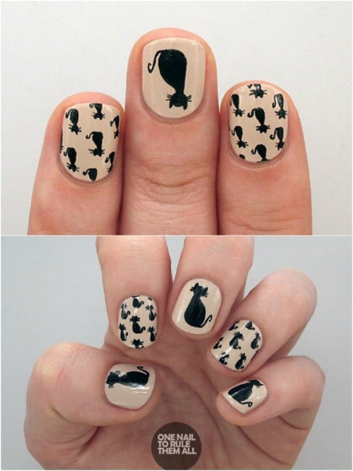 Spooky Black Cat Nails