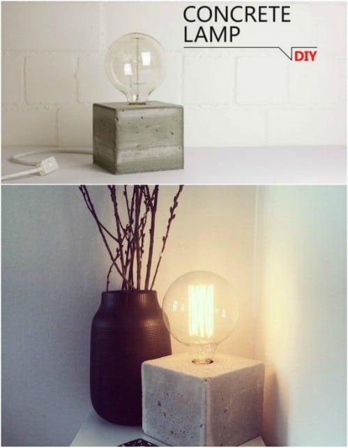 DIY Concrete Bedside Lamp
