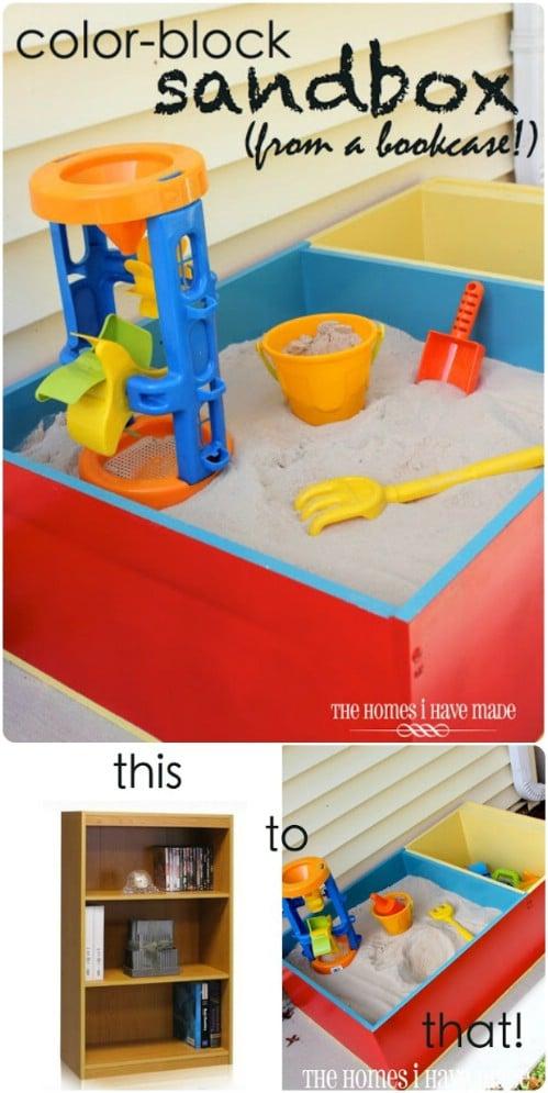 Repurposed Bookcase Color Block Sandbox