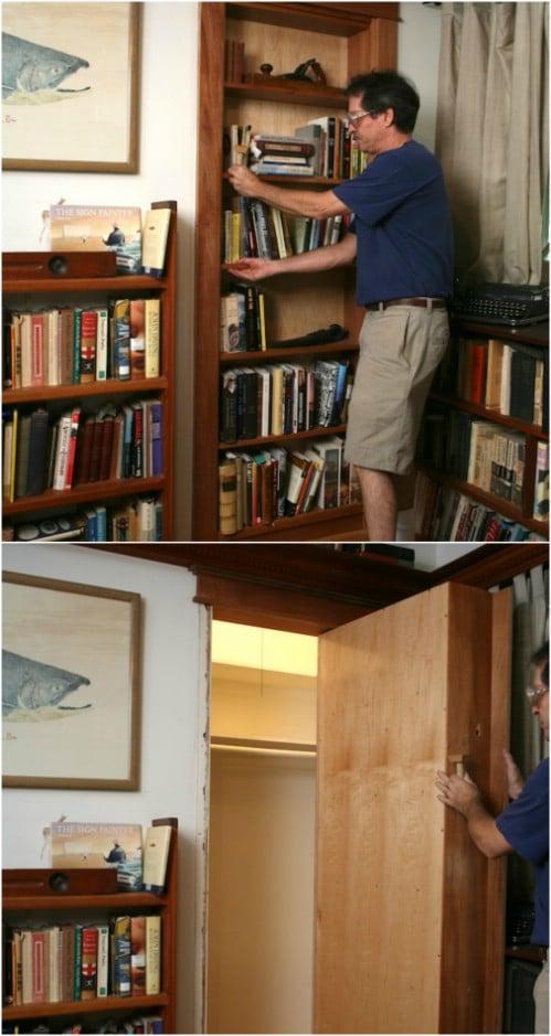 DIY Secret Room Pivoting Bookcase
