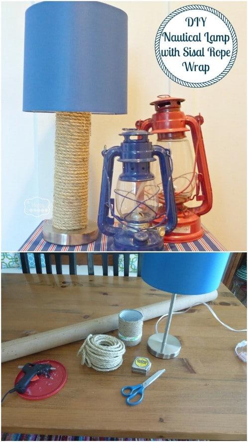 Twine Covered Nautical Lamp