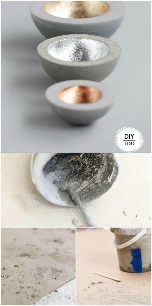 DIY Stackable Metallic Concrete Bowl Set
