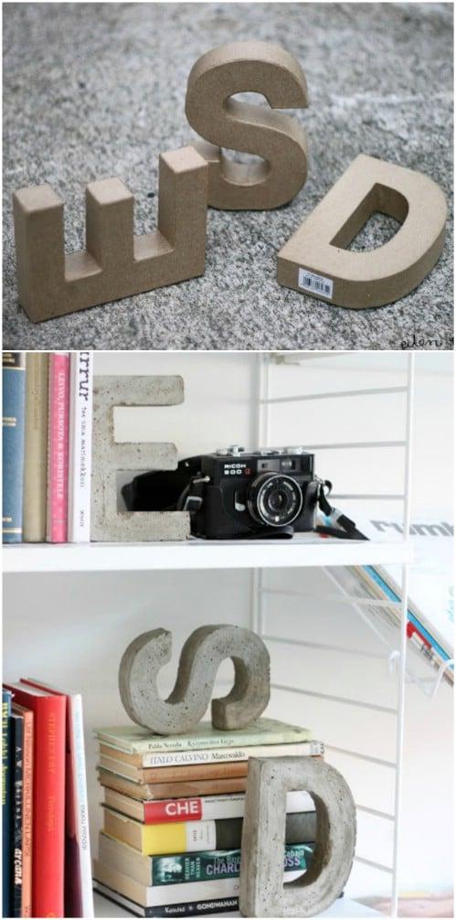 Concrete Monogram Bookends