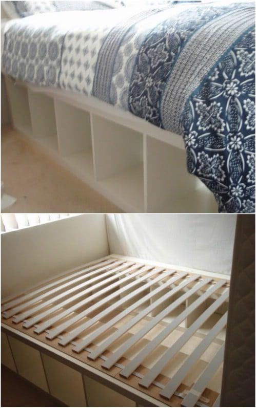 Repurposed IKEA Expedit Bookcase Under Bed Storage