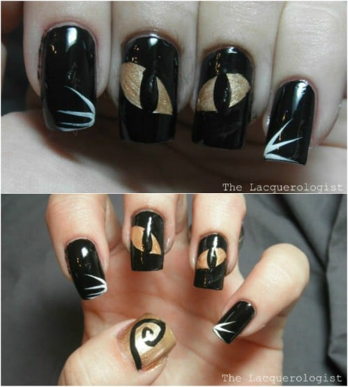 40 frightening and fun halloween nail art designs you can do diy cat eye nails prinsesfo Images