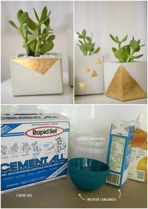 Gold Leaf Cement Pots