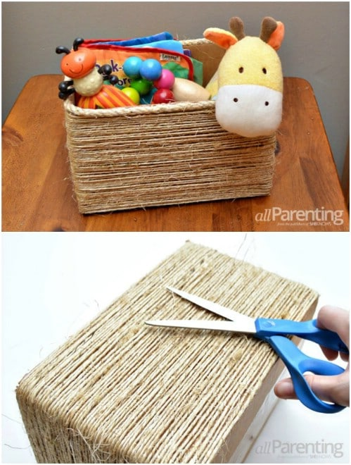 Twine Wrapped Toy Box