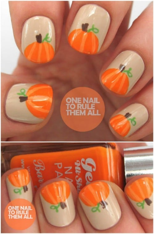 Easy DIY Pumpkin Nails