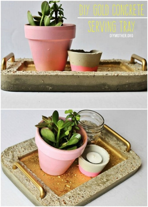 DIY Gold Handled Concrete Serving Tray