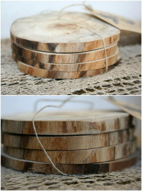 Handmade Wooden Coaster Wedding Favors