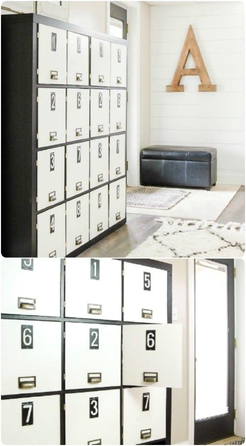 Repurposed Bookcase Lockers