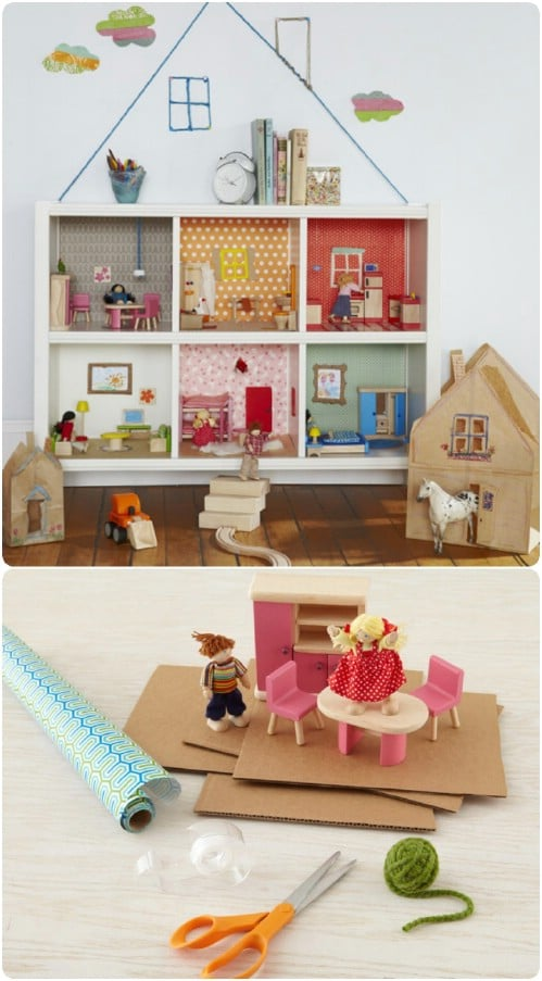 Adorable Recycled Bookcase Dollhouse