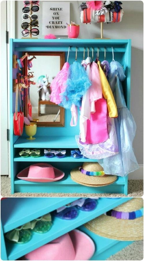 DIY Bookcase Dress Up Closet