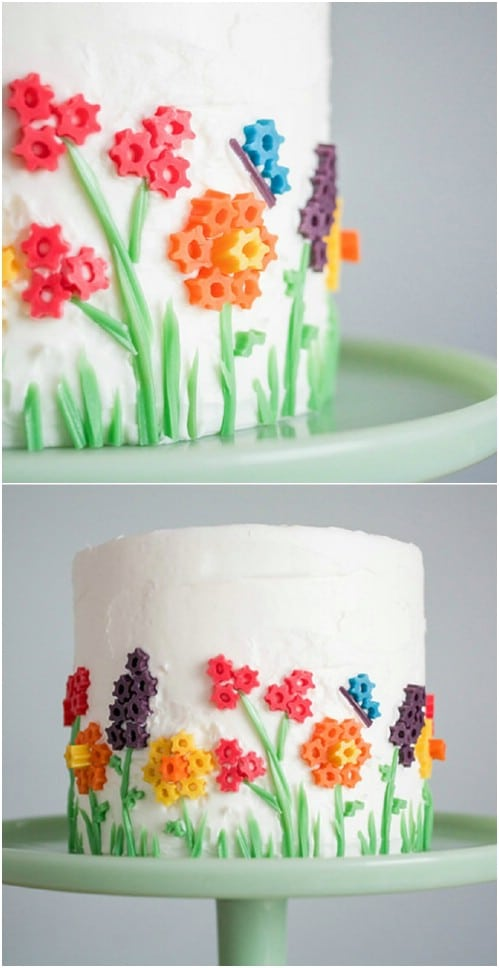 Twizzler Flower Topped Cake