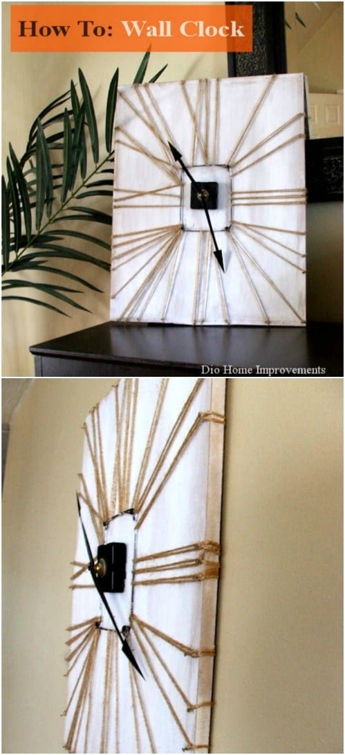 DIY Twine Embellished Clock