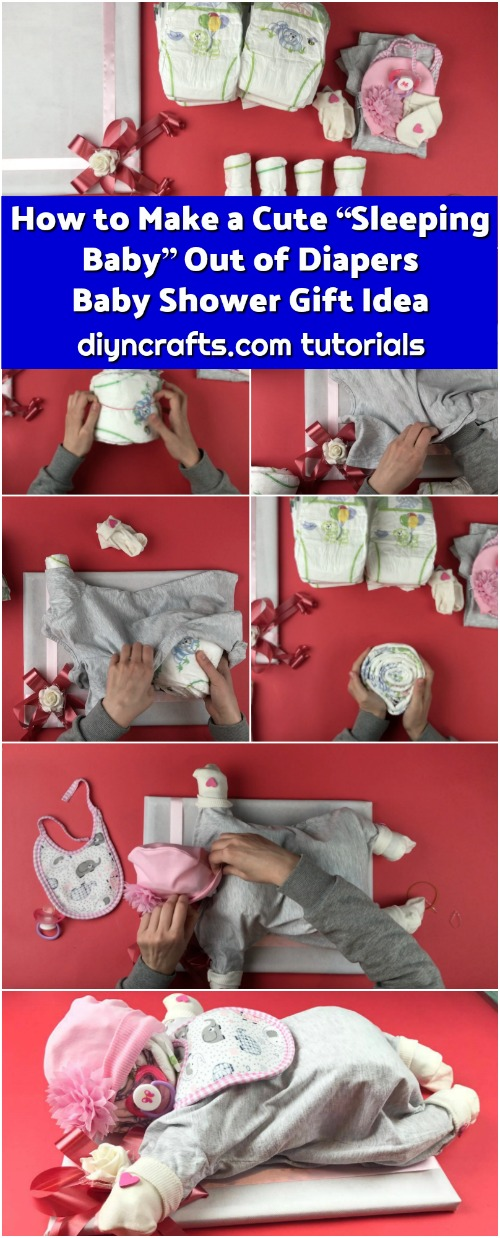 """How to Make a Cute """"Sleeping Baby"""" Out of Diapers - Baby Shower Gift Idea"""