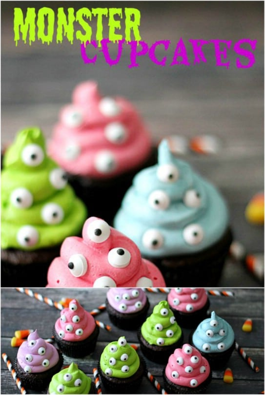 Easy Colorful Monster Cupcakes