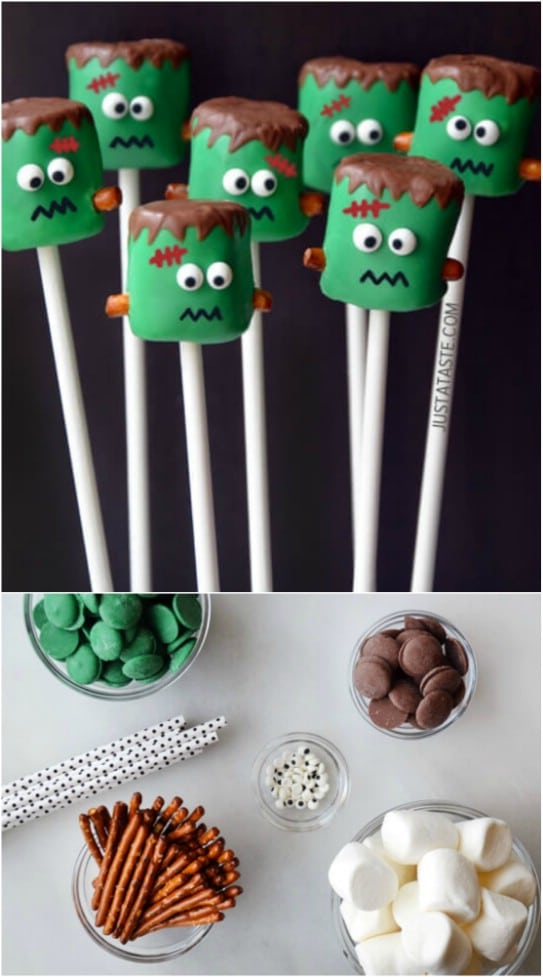 DIY Frankenstein Marshmallow Pops