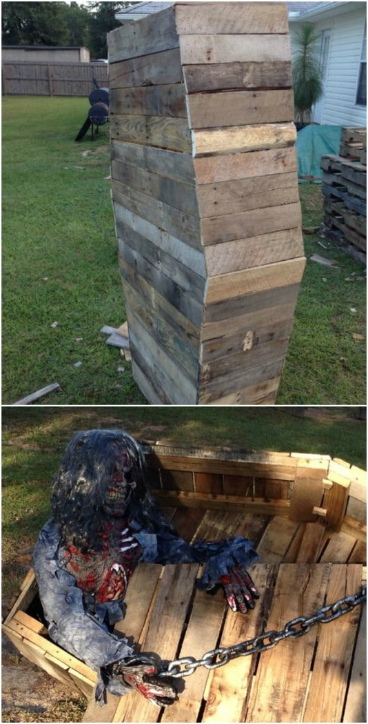 Gruesome Walking Dead DIY Coffin - 25 Fantastic Reclaimed Wood Halloween Decorations For Your Home And Garden
