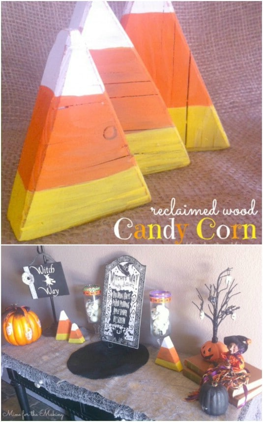 Reclaimed Wood Candy Corn Decorations - 25 Fantastic Reclaimed Wood Halloween Decorations For Your Home And Garden