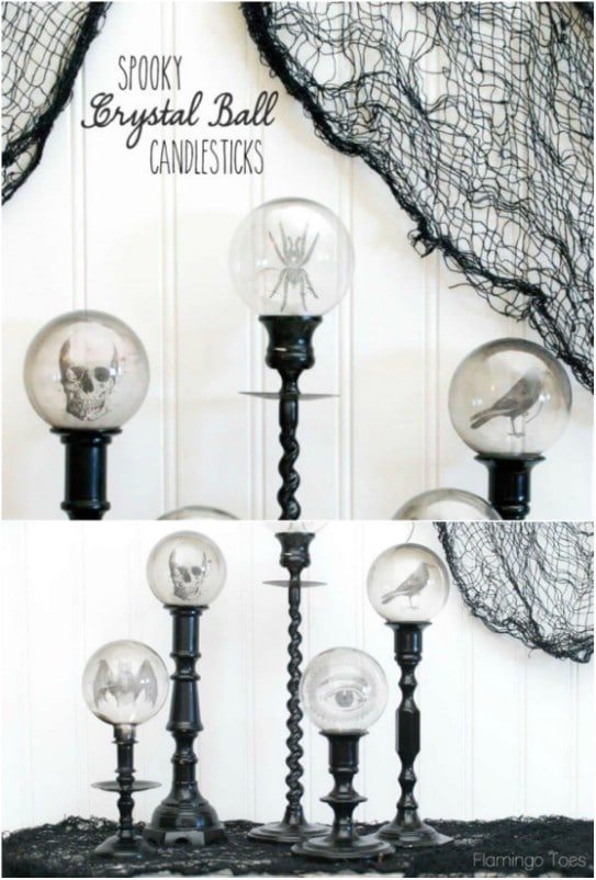 DIY Crystal Ball Candlesticks