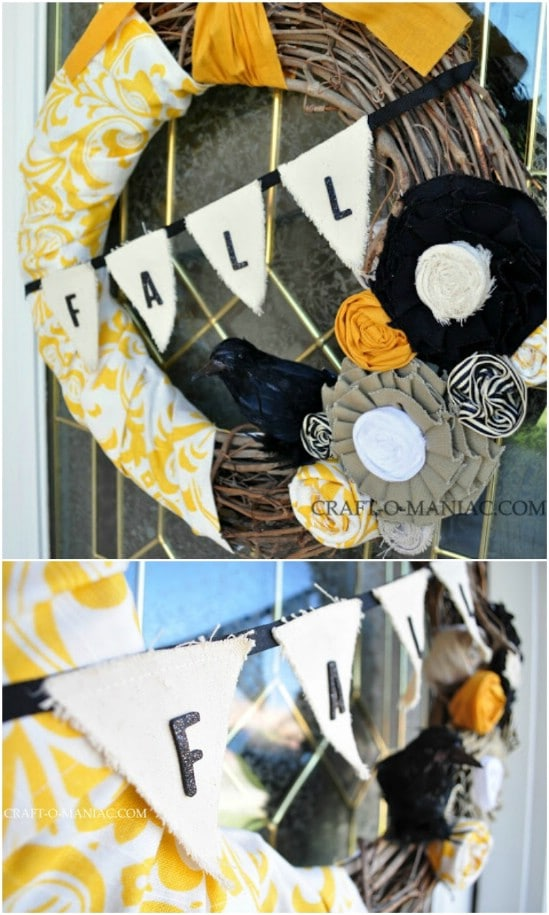 Upcycled Fabric Bunting Wreath
