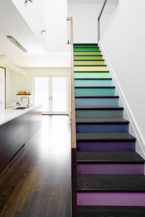 Turn your staircase into a rainbow.
