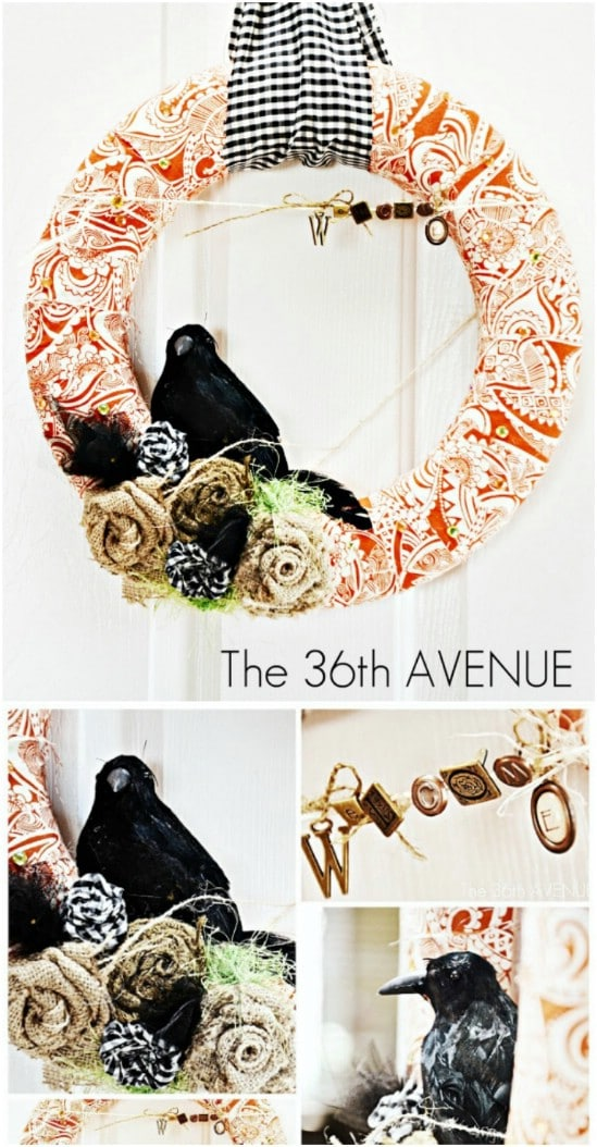 Fabric Wrapped Welcome Wreath