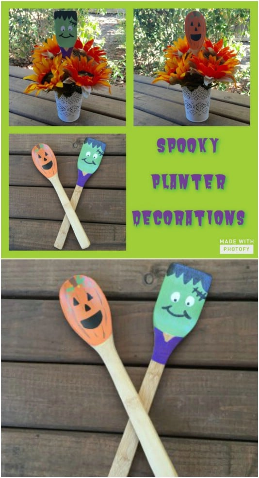 Upcycled Wooden Spoon Spooks - 25 Fantastic Reclaimed Wood Halloween Decorations For Your Home And Garden