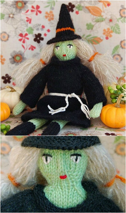 Spooky Knit Halloween Witch Doll