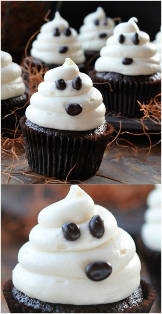Carrot Cake Cupcakes With Halloween Ghosts