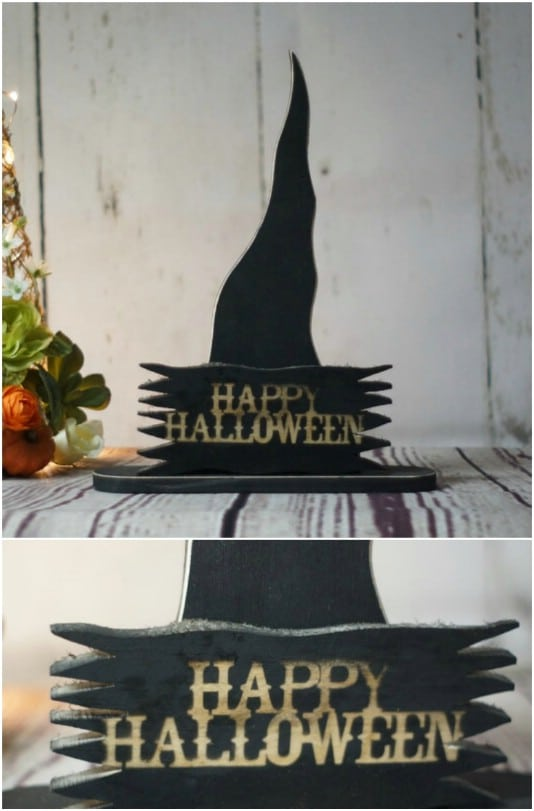Primitive Witches Hat Shelf Sitter - 25 Fantastic Reclaimed Wood Halloween Decorations For Your Home And Garden